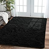 Comeet Soft Living Room Area Rugs for Bedroom Fluffy Rugs for Kids Room, Floor Modern Indoor Shaggy Plush Carpets, Home Decor Fuzzy Comfy Nursery Baby Boys Abstract Accent, Black Shag Rug 4x6 Feet