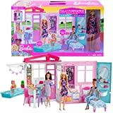 Barbie Doll and Dollhouse, Portable 1-Story Playset with Pool and Accessories, for 3 to 7 Year Olds​​​​