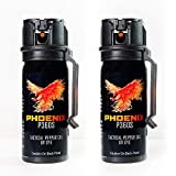 PHOENIX Tactical P360S – Pepper Gel trusted by Military and Law Enforcement Personnel with UV Dye- Gel is Safe & Maximum Strength, Quick Access Fliptop, Sprays at Any Angle, 18feet/5.5m Range– 2 Pack