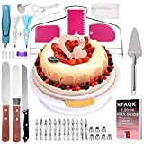 Basuwell Lot de 124 pièces pour décoration de gâteaux avec plateau rotatif pour gâteaux et décorations, ustensiles pour amateurs et professionnels