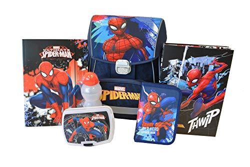 Spiderman Schulranzen für Grundschule Jungen Schulrucksack | anatomisch | Schultasche Set 6 teilig | inkl. Federmäppchen, Brotdose, Trinkflasche, A4 Box, A4 Mappe