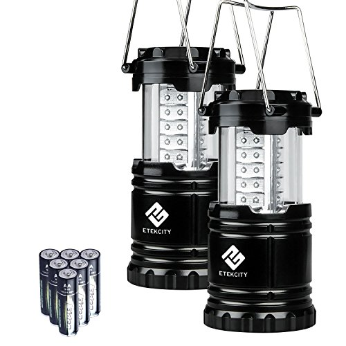 Etekcity Campinglampe Laterne zusammenklappbar 30 LEDs Batteriebetrieb Außenleuchte für Wandern Camping, Notfall, tragbare Gartenlaterne, LED Camping Beleuchte schwarz (2 er)