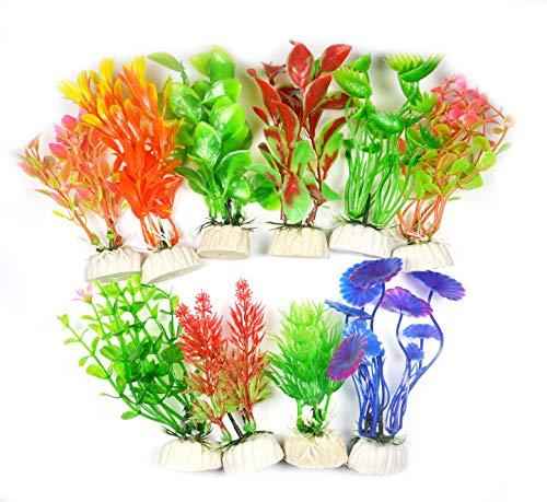 LLGL Plastikpflanzen für Aquarien, 10-teilig Klein Künstlich Wasserpflanzen Kunststoff Pflanzen Fisch Tank Dekoration Kunststoffpflanzen Aquariumpflanze (Mehrfarbig-Klein)