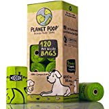 Compostable Dog Poop Bags, Plant-Based Poop Bags for Dogs, Unscented Extra-Long with Handles 9 x 16 Inches Thick Leak Proof Doggy Waste Bag Refills Highest USA Rated D6400 Supports Doggie & Pet Rescue