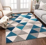 Well Woven Isometry Blue & Grey Modern Geometric Triangle Pattern 5' x 7' Area Rug Soft Shed Free Easy to Clean Stain Resistant