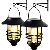 2 Pack Wall Light Solar Lantern Wall Lights Fixtures, Solar Powered Porch Light, 15 Lumen Heavy Glass & Stainless Hanging Solar Wall Sconce Outdoor,for Porch, Yard