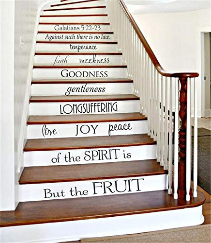 Stairway Decals Quote Wall Sticker for Stairs Staircase Decals Galatians 5:22-23 Fruit of The Spirit Staircase Decor Bible Verse Stair Riser Decals Christian Stickers Home Housewarming Gift
