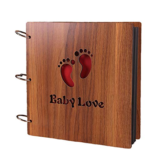 """MINGZE Joli Album Photo DIY Scrapbook, en Bois Ciselé """"Baby Love""""..."""