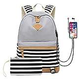 School Backpack for Girls Teens, College Bookbag Back Bag with USB Charging Port (Gray)