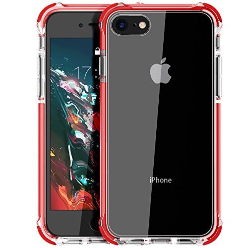 MATEPROX iPhone SE 2020 case iPhone 8 case iPhone 7 Case Clear Shield Heavy Duty Anti-Yellow Anti-Scratch Shockproof Cover Compatible with iPhone 7/8/SE (Red)