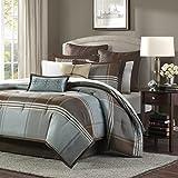 Madison Park Cozy Comforter Set Casual Modern Design All Season, Matching Bed Skirt, Decorative Pillows, King(104'x92'), Brown, 8 Piece