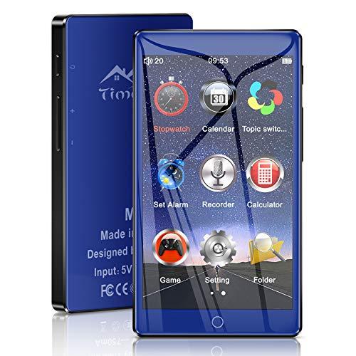 Timoom M7 Lecteur MP3 Bluetooth 5.0 Haute Résolution écran Tactile Complet, 4 Pouces MP4 Baladeur 16Go Musique Audio sans Perte HiFi avec Radio FM Vidéo Enregistreur Vocal Extensible jusqu'à 128 Go
