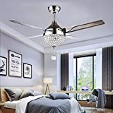 Crystal Modern Ceiling Fan Chandelier With LED Light And Remote Control 4 Stainless Steel Blades Quiet 44 Inch For Indoor Home Decoration Living Room Bedroom Chrome, Tropicalfan