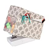 Yarwo Sewing Machine Cover, Cotton Canvas Dust Cover with Pockets for Most Standard Sewing Machines and Accessories, Tree