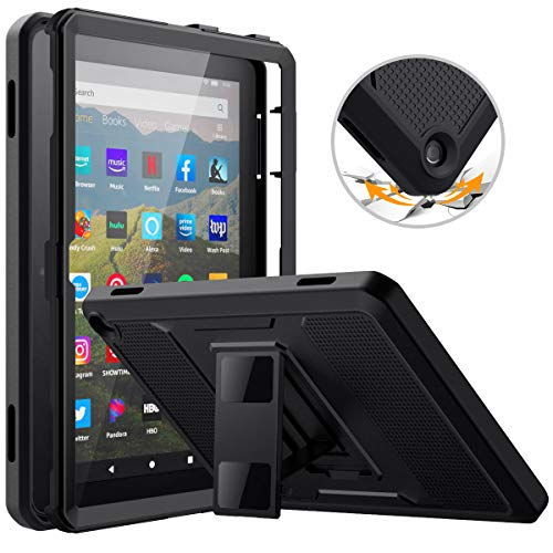 MoKo Case Compatible with All-New Kindle Fire HD 8 Tablet and Fire HD 8 Plus Tablet (10th Generation, 2020 Release), [Heavy Duty] Full Body Rugged Cover with Built-in Screen Protector, BLACK