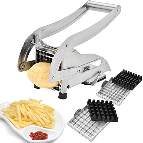 EEO French Fries Cutter, Stainless Steel No Plastic For Homemade Chips/Fries