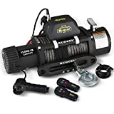 RUGCEL WINCH Waterproof IP68 Electric Synthetic Rope Winch with Hawse Fairlead, Wired Handle and 2 Wireless Remote