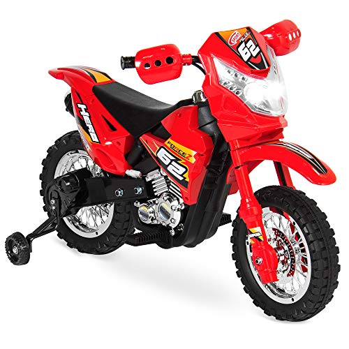 Best Choice Products 6V Kids Electric Battery Powered Ride On Motorcycle w/ Training Wheels, Lights, Music- Red