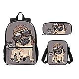 DuJiea Pug Dog Aviator Helmet Kids Backpack Set 3 Piece Student School Book Bag with Shouder Bag Pencil Case Box for Boys Girls