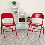 BizChair 4 Pack Triple Braced & Double Hinged Red Metal Folding Chair - Commercial Chair