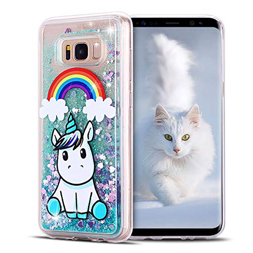 SpiritSun Funda para Samsung Galaxy S8 Plus, Silicona TPU Carcasa Transparente Líquido Bumper Tapa Cubierta Trasero Flexible Suave Case [Antigolpes] para Samsung Galaxy S8 Plus Verde - Unicornio