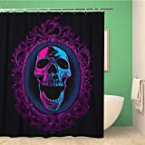 Awowee Bathroom Shower Curtain Blue Black Screaming Skull in Mirror Purple Bloody Mary Polyester Fabric 66x72 inches Waterproof Bath Curtain Set with Hooks