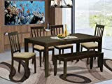 6 PC Dining set with bench-Dining Table with Leaf and 4 Dining Chairs Bench