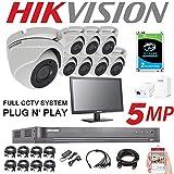 HIKVISION Système de sécurité CCTV 5 MP 4K DVR 8 canaux 2 to H.265 + HIK 5 MP 2,8 mm 8 x kit de Vision Nocturne extérieur DS-7208HUHI-K1