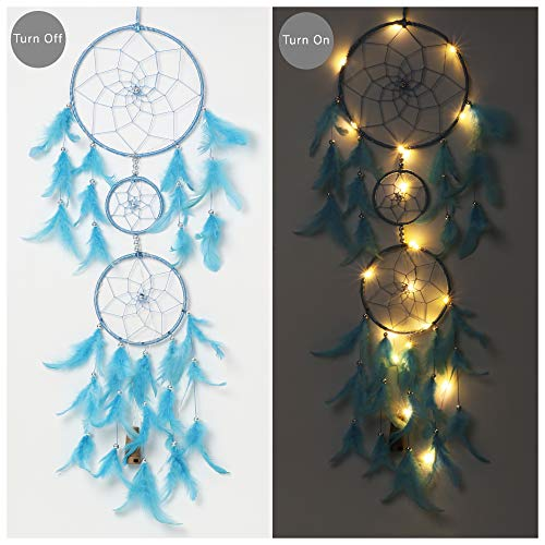 ILU® Dream Catcher with Lights, Wall Hangings, Crafts, Home Décor, Handmade for Bedroom, Balcony, Garden, Party, Café, Decoration, Wedding, Decorative, Blue Feathers (17 cm Diameter)