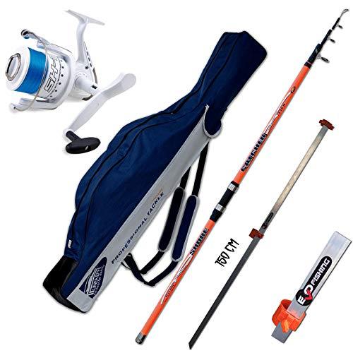Evo fishing Canna Catcher 420 CM 200 GR + Mulinello SHIZUKA SK7 7000 + Fodero PORTACANNE Picchetto