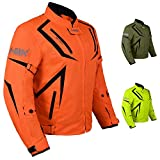 Motorcycle Jacket Riding HWK Mens Textile Motocross Dualsport Racing Hi-Vis Biker CE Armored Waterproof Jackets (Fluorescent Orange, 4XL)