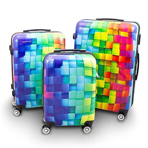BERWIN® Design Koffer Reisekoffer Trolley Hartschalenkoffer Polycarbonat mit 4 Rollen als Set und Einzeln (Cube, 3er Set (M/L/XL))