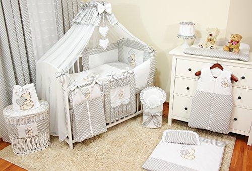 Conjunto de ropa de cama para cuna de bebé, 100% algodón, conjunto completo XXL de 10piezas, diseño bordado de osito, incluye mosquitera gris gris Talla:120x60cm