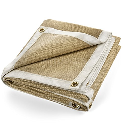 Waylander Welding Blanket Premium 6' x 6' 1400°F Heavy Duty Welders Kevlar Stitched Vermiculite Impregnated Fiberglass with Brass Grommets