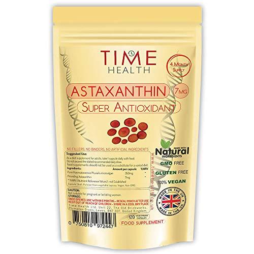 Astaxanthin - Haematococcus Pluvialis - 7 mg - Optimale Dosis - Super-Antioxidans - 100{09d46c270bf3358bd72ac119a30a7ef3bddfc2fc35b1e952e24f3084c369cd4d} rein, natürlich bioverfügbar 4-Monatsvorrat - 100{09d46c270bf3358bd72ac119a30a7ef3bddfc2fc35b1e952e24f3084c369cd4d} Natürlich (120 Kapseln pro Beutel)
