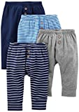 Simple Joys by Carter's Baby Boys' 4-Pack Pant, Navy/Stripes/Gray, 18 Months