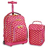 J World New York Kids' Lollipop Rolling Backpack With Lunch Self-Magnetic Sparkling Wheel and'FREE'Lunch Bag, Pink Buttons, 16'