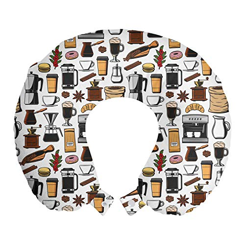 ABAKUHAUS café Cojín de Viaje para Soporte de Cuello, Moka Pot French Press Donut, de Espuma con Memoria y Funda Estampada, 30x30 cm, Multicolor