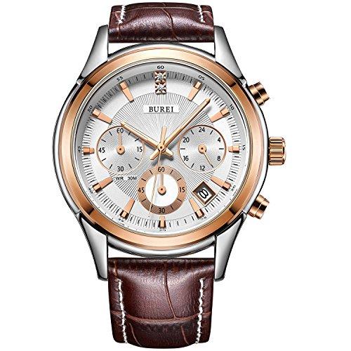 BUREI Herren Elegante Chronographenuhr für Uhr Braunes Lederarmband Business Luxury Sport