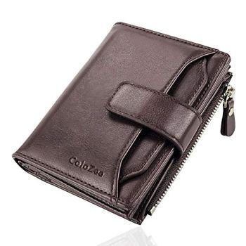 Men's Wallet, Genuine Leather RFID Blocking Wallet Mens, Credit Card Holder Bifold Wallet with Zip Coin Pocket for Men, with Gift Box, Dark Brown
