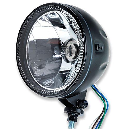 """5 3/4\"""" LED Motorrad Haupt Scheinwerfer Skyline II LED Standlichtring mit unterer Halterung schwarz universal E-geprüft"""