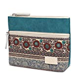 KingbeefLIU Bolso de hombro vintage de lona monedero con cremallera bolsa de embrague de las mujeres cosmética teléfono titular cartera azul lago