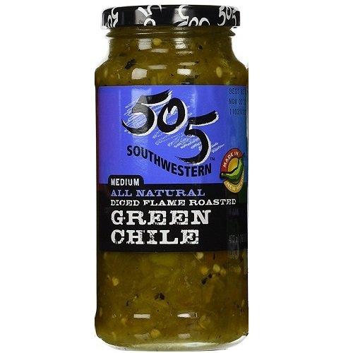 505 Southwestern 16oz Jar (Select Flavor Below) (Diced Flame Roasted Green Chile - Medium) (3-Pack)
