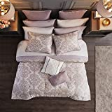 Madison Park Essential Madeline Comforter, Jacquard Medallion Damask Design with Bonus 2 Sheet Sets All Season Down Alternative Bedding Bedskirt,Decorative Pillows, King(104'x92'), Purple 16 Piece