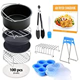 FDA 8 inch XL Air Fryer Accessories 11 pcs with Recipe Cookbook Compatible for Gowise USA COSORI Airfryer XL 5.3QT  5.8QT, Deluxe Deep Fryer Accessories Set of 12