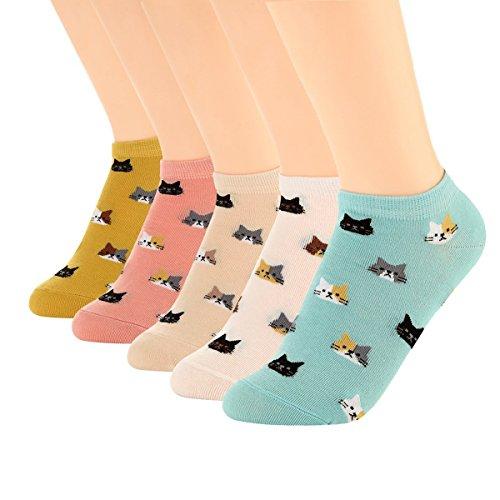 XIANOOER Caviglia Calze, da donna caviglia alta Low Cut No Show Casual 5 paia calzini di cotone (5 paia di calzini di gatto 2)