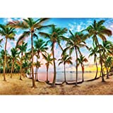 YongFoto 10x7ft Tropical Beach Scenery Backdrop Palm Trees Beach Sand Tropical Coast Ocean Bay Sea Waves Beautiful Sunset Romantic Photography Background Outdoorsy Travel Backdrop Photoshoot Props
