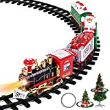 Christmas Train Set - Toy Train Set with Lights and Sounds, Round Railway Tracks for Under/Around The Christmas Tree, Best Gifts for 3 4 5 6 7 8+ Years Kids Boys Girls