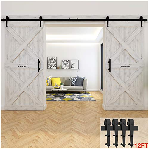FaithLand 12FT Double Sliding Barn Door...
