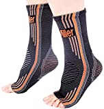 Doc Miller Premium Ankle Brace Compression Support Sleeve Socks for Swollen Foot Plantar Fasciitis Achilles Tendonitis, Use as Injury Support Recovery Eases Pain Swelling 1 Pair (Orange, Medium)